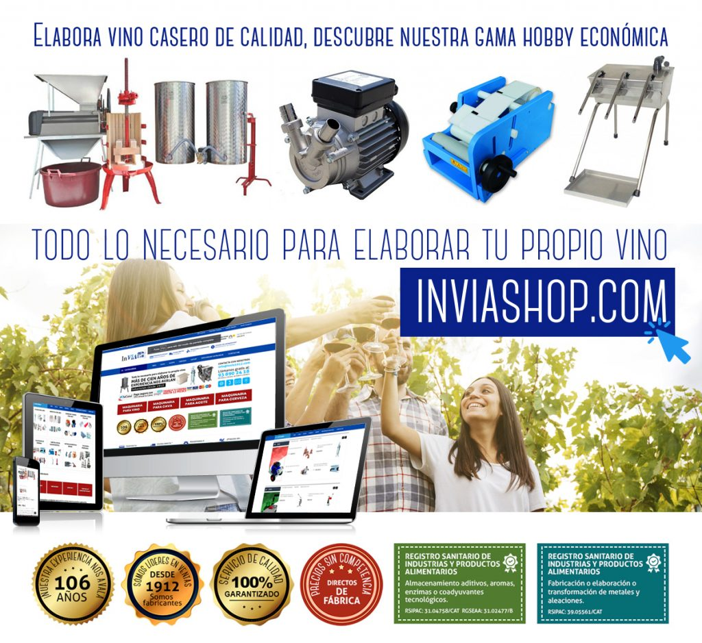 Descubre InViaShop.com, nueva web especializada en toda la maquinaria necesaria de línea hobby para elaborar tu propio vino con la máxima calidad.